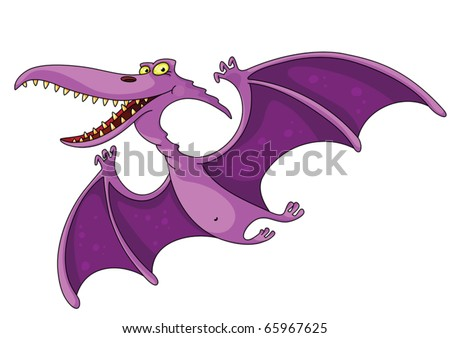 illustration of a comic pterodactyl - stock vector