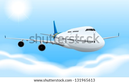 Illustration of a commerical aircraft in flight - stock vector