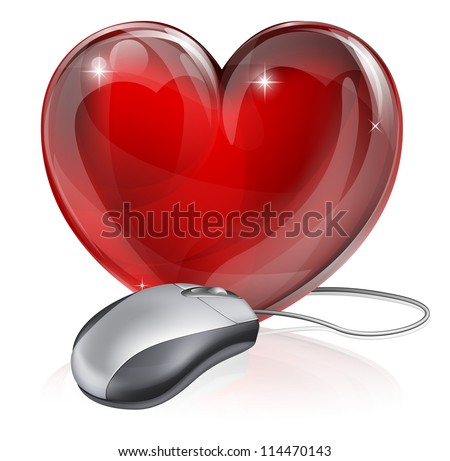 Illustration of a computer mouse connected to a red heart symbol, concept for online dating, romance or similar - stock vector
