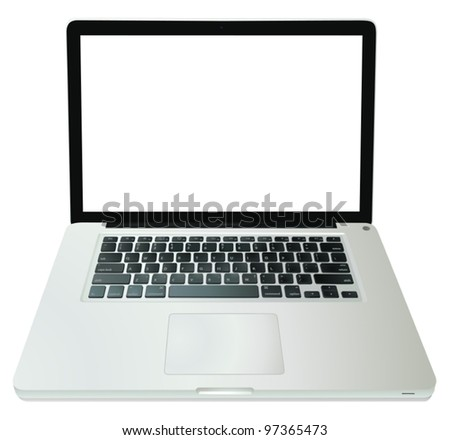 illustration of a computer on a white background - stock vector