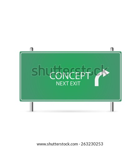 Illustration of a Concept highway sign isolated on a white background. - stock vector