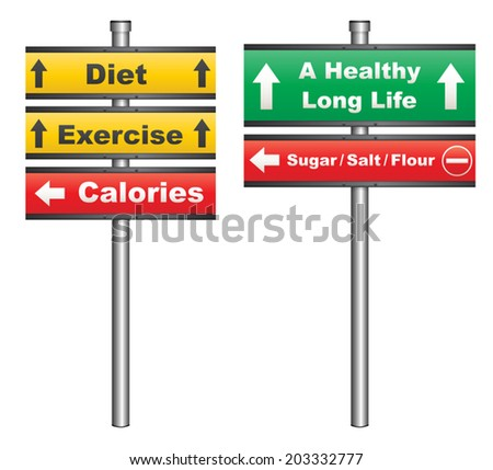 Illustration of a conceptual signboard about diet and exercise for a healthy life - stock vector