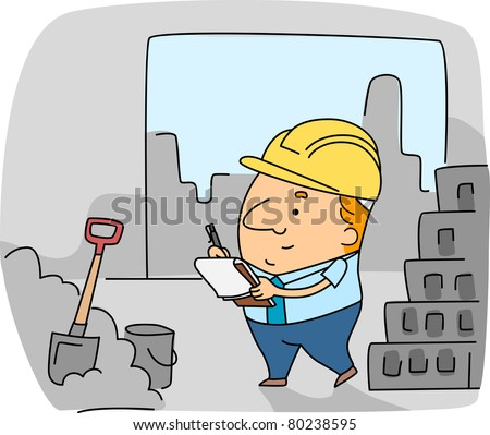 Illustration of a Construction Inspector at Work - stock vector