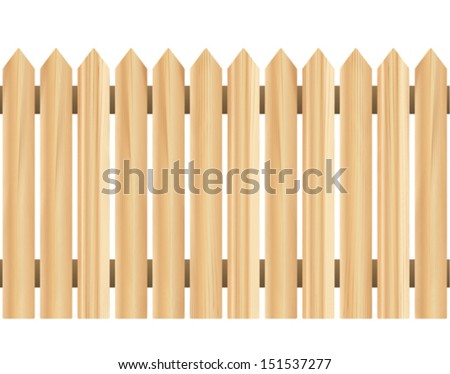 Illustration of a continuing, seamless picket fence. Can be placed side by side indefinitely, without a visible seam.  - stock vector