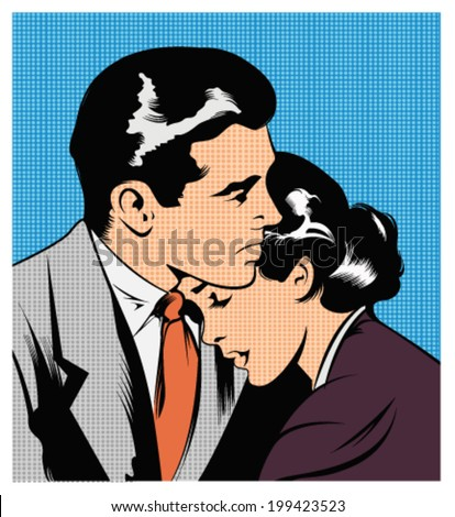 Illustration of a couple embracing - stock vector