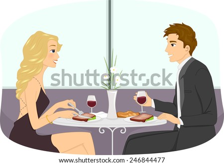Illustration of a Couple in Formal Attire Having a Romantic Dinner Date - stock vector