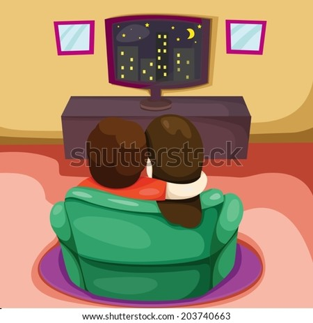 illustration of a couple watching TV on a green chair - stock vector
