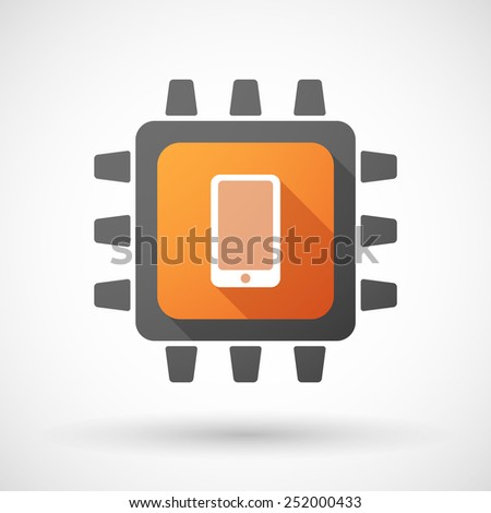 Illustration of a CPU icon with a smartphone - stock vector