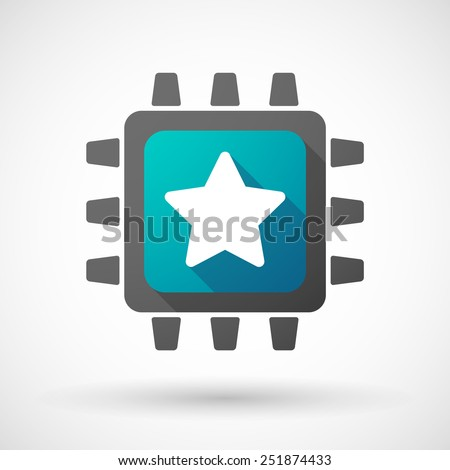 Illustration of a CPU icon with a star - stock vector