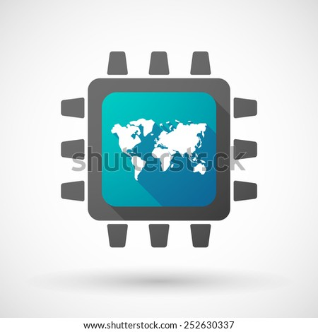 Illustration of a CPU icon with a world map - stock vector