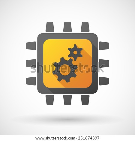 Illustration of a CPU icon with gears - stock vector