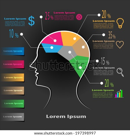 Illustration of a creative business brain thinking of ideas, business strategy, vision, searching opportunities for business success with percentage of priorities and planning, Vector infographics - stock vector