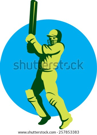 Illustration of a cricket player batsman with bat batting facing front set inside circle done in retro style on isolated background. - stock vector