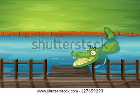 Illustration of a crocodile and a bench in a river - stock vector