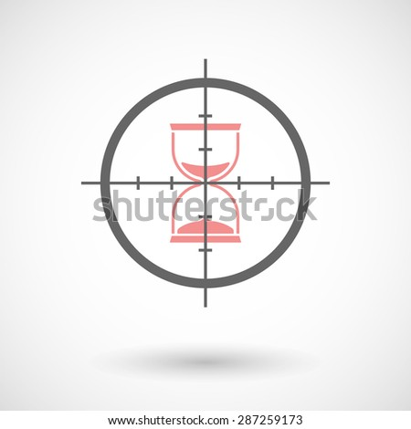 Illustration of a crosshair icon targeting a sand clock - stock vector