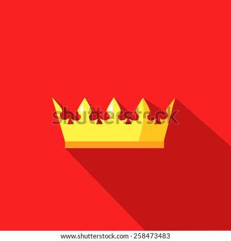 illustration of a crown in flat design style - stock vector