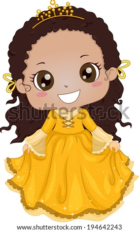 Illustration of a Cute Africanb-American Girl Wearing a Princess Costume - stock vector
