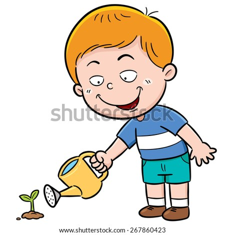 illustration of a cute Boy watering flower - stock vector