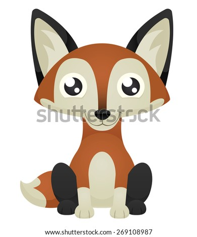 Illustration of a cute cartoon fox sitting with a happy expression. Eps 10 Vector. - stock vector