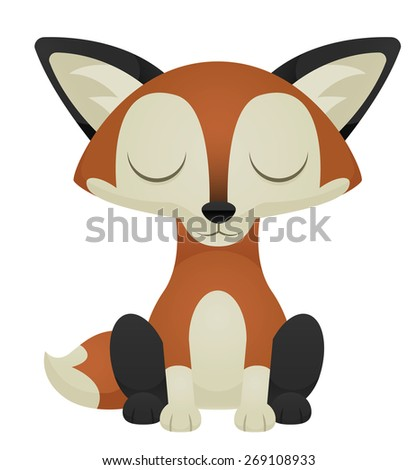 Illustration of a cute cartoon fox with its eyes closed. Eps 10 Vector. - stock vector
