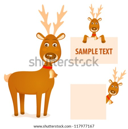 illustration of a cute Christmas cartoon reindeer, suitable as decoration for banners or text frames - stock vector