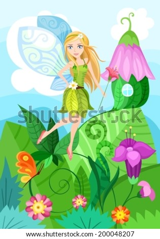 illustration of a cute fairy - stock vector