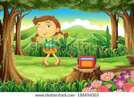 Illustration of a cute girl dancing in the middle of the woods - stock vector