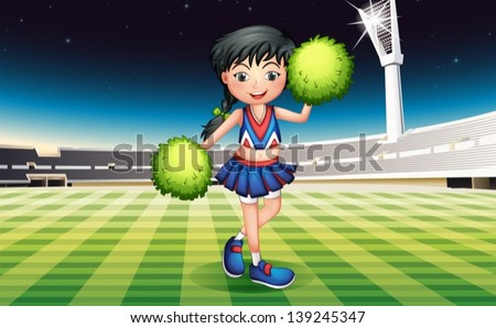 Illustration of a cute girl with green pompoms - stock vector