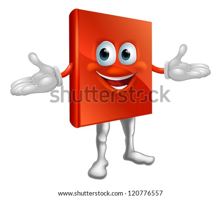 Illustration of a cute happy book mascot education cartoon character - stock vector