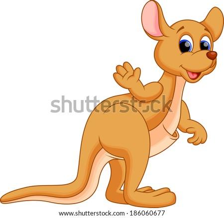 Illustration of a cute kangaroo cartoon   - stock vector