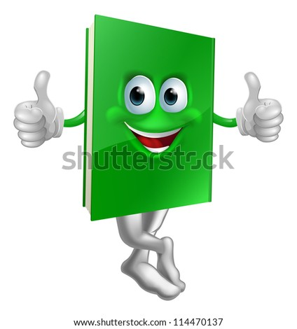 Illustration of a cute smiling thumbs up green book character - stock vector