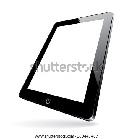 illustration of a 3d black computer tablet with white blank screen. vector. eps10 - stock vector