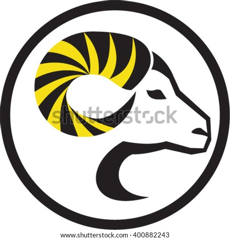 Illustration of a dall sheep ram with full curl horn viewed from the side set inside circle done in retro style.  - stock vector