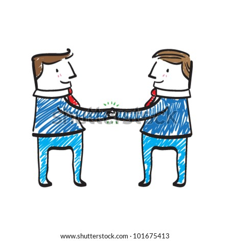 Illustration of a deal between two men. - stock vector