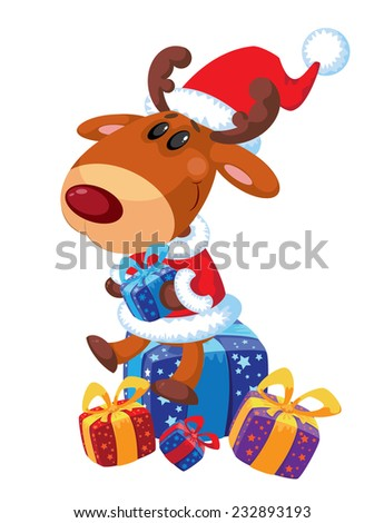 illustration of a deer and box - stock vector