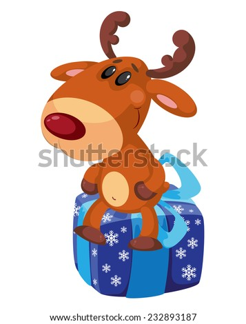 illustration of a deer on the box - stock vector