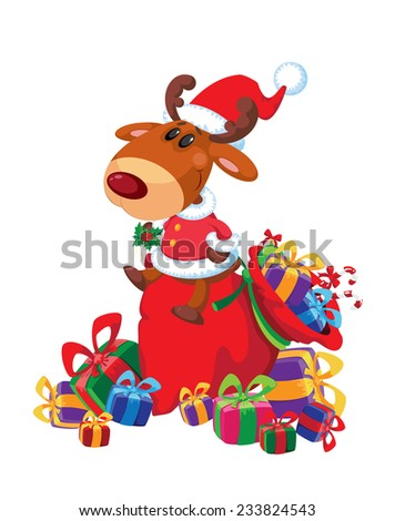 illustration of a deer sits on bag and gifts - stock vector