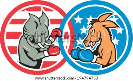 Illustration of a democrat donkey mascot of the democratic grand old party gop and republican elephant boxer boxing set inside two circle with American stars and stripes done in cartoon style. - stock vector