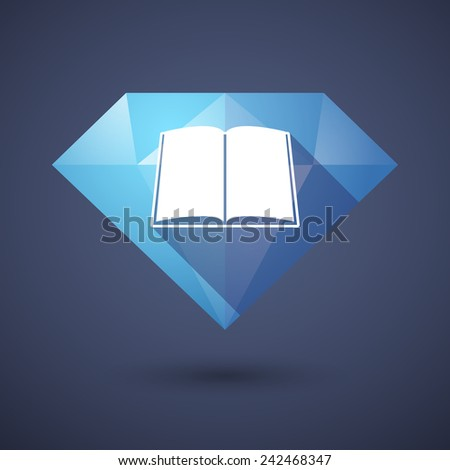 Illustration of a diamond icon with a book - stock vector