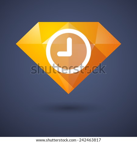 Illustration of a diamond icon with a clock - stock vector