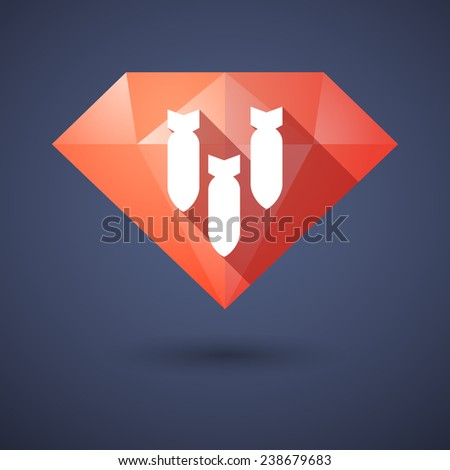 Illustration of a diamond icon with bombs - stock vector
