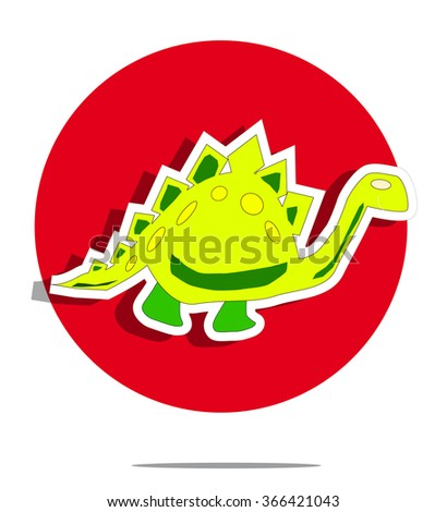 Illustration of a dinosaur with red circle background - stock vector