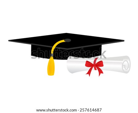 Illustration of a diploma and mortarboard cap symbolizing graduation - stock vector