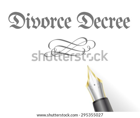 illustration of a Divorce Decree Letter with fountain pen - stock vector