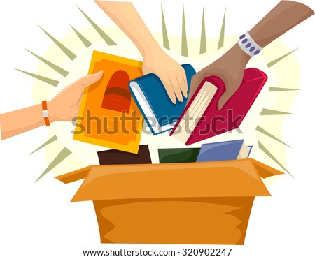 Illustration of a Donation Box Filled with Books - stock vector