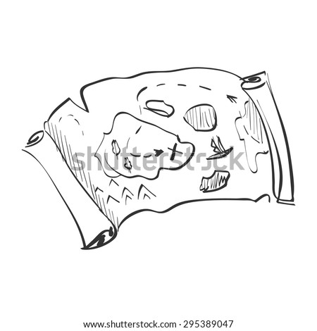 Illustration of a doodle treasure map, excellent vector illustration, EPS 10 - stock vector