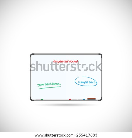 Illustration of a dry erase board isolated on a white background. - stock vector