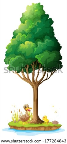 Illustration of a duck and her duckling under the tree on a white background - stock vector