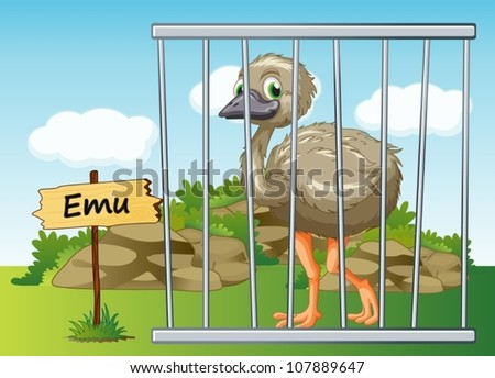 illustration of a emu in cage and wooden board - stock vector