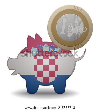 illustration of a euro coin going into a piggy bank with the flag of Croatia - stock vector